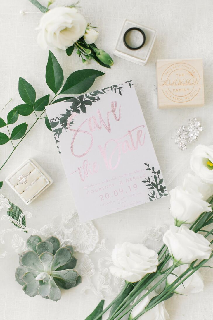 Elegant Save-the-Date for Wedding at The Lace House in Columbia, South Carolina