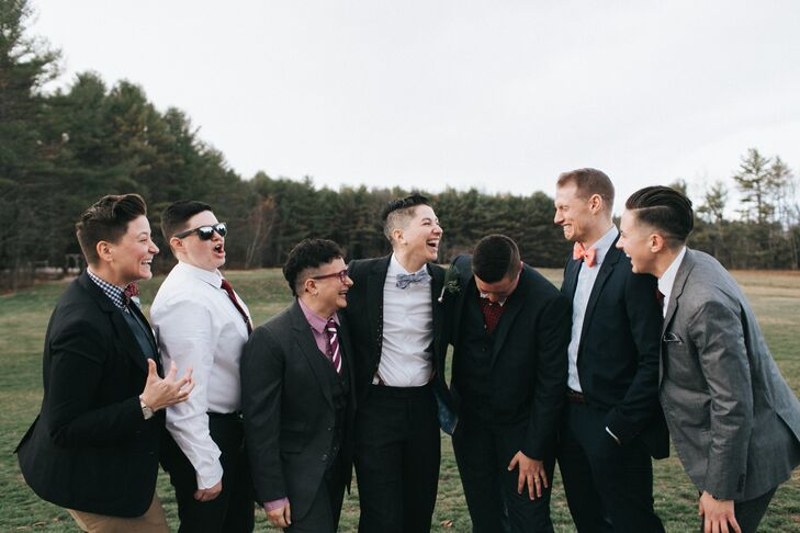 Though Shane and Lexie included only their sisters in the ceremony, Shane asked a handful of his best bros to be present while he was getting ready, partially for company—and to keep him sober and full of carbs. He gave each of them a Bowline bow tie similar to his.