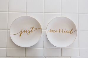"""Just Married"" White Plates, Gold Text"
