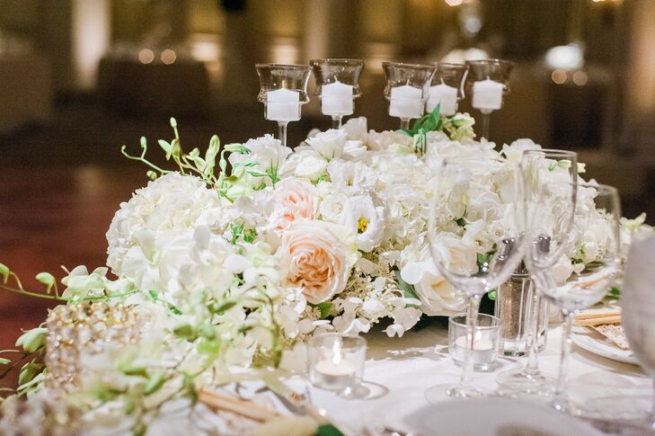 Cascading Ivory and Blush Sweetheart Table Decor