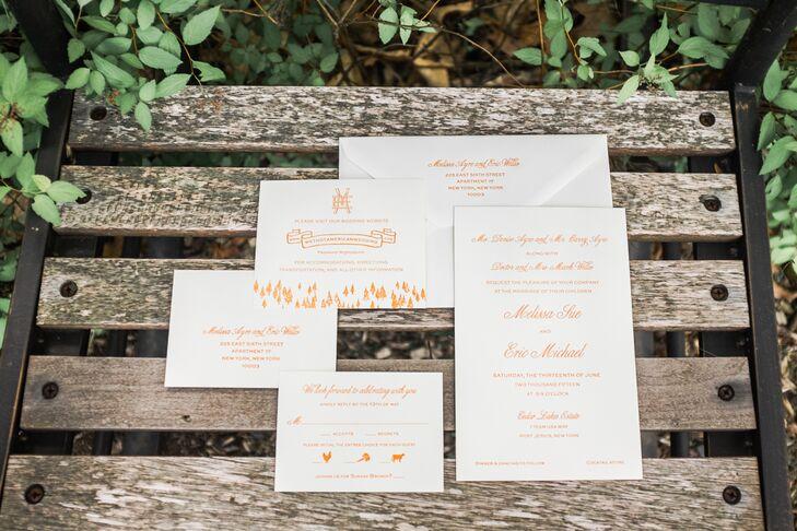 Personalized Orange Letterpress Invitations
