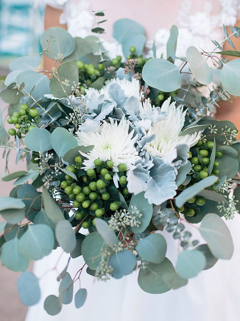 The prettiest greenery bouquets weve ever seen a fragrant bridal bouquet with mums and eucalyptus izmirmasajfo