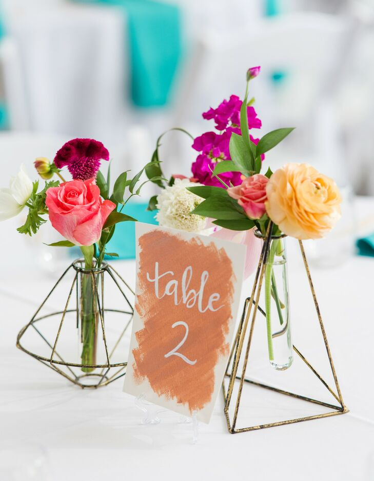 Simple Table Numbers and Bud Vases as Reception Centerpieces
