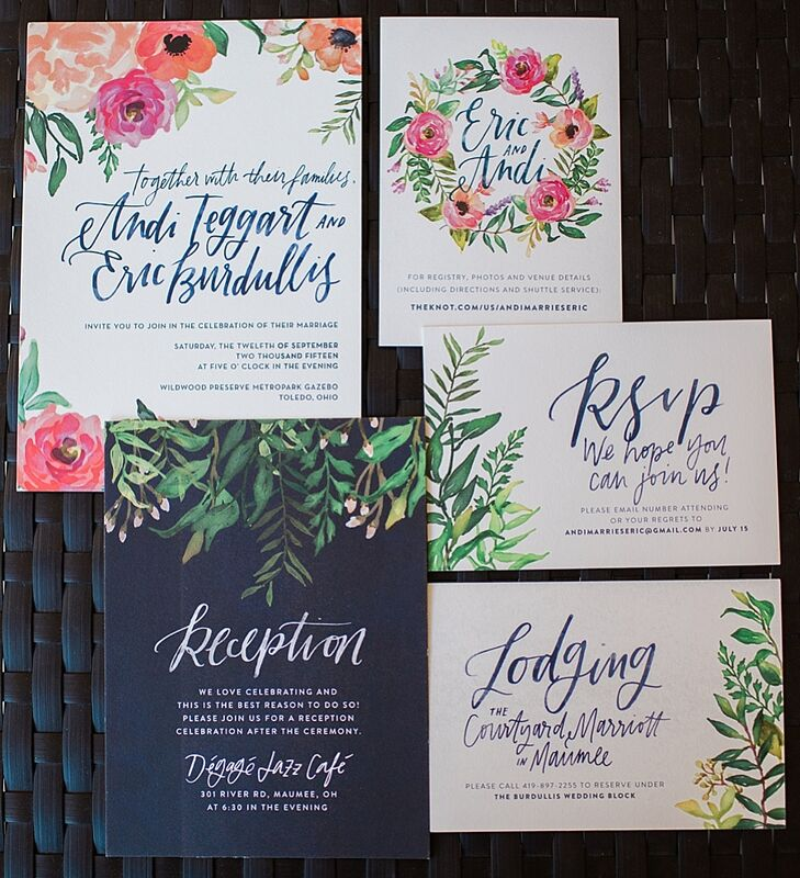 Andi's close friend designed the couple's floral-inspired invitation suite.