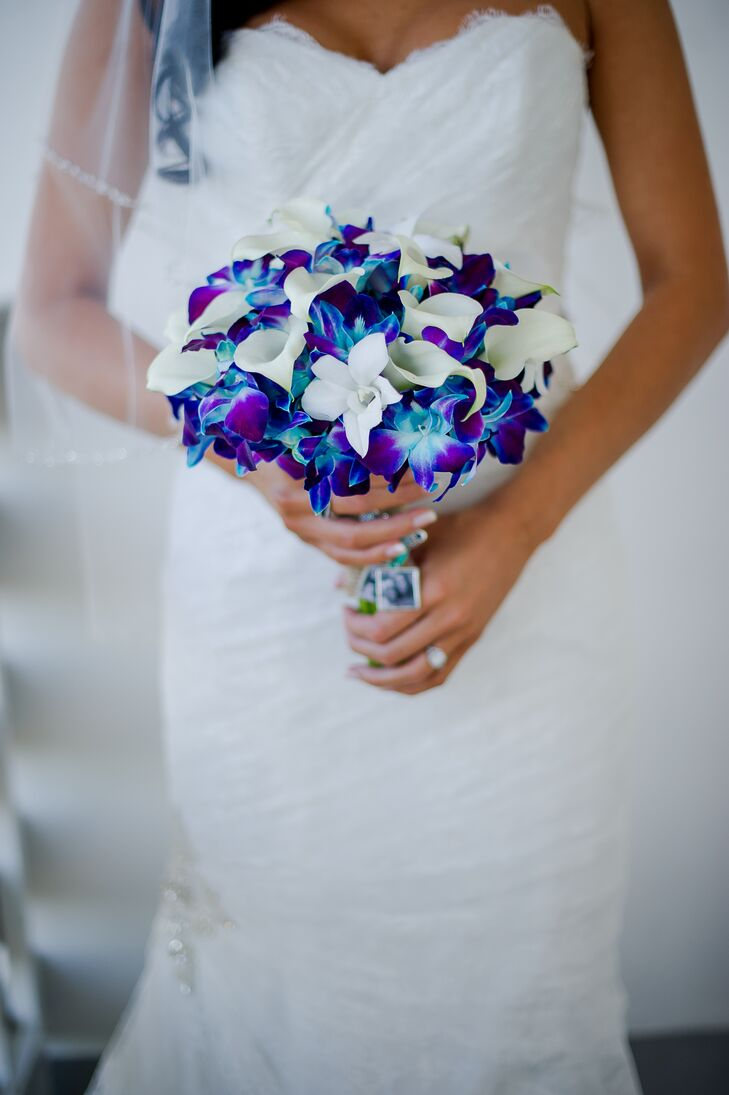 Bright Blue And Purple Orchid Bouquet