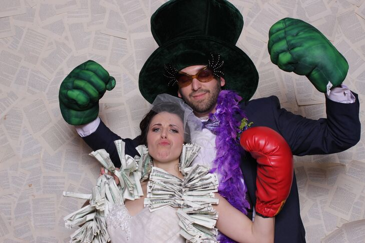 A photo booth was set up during the reception for guests to enjoy  and was stocked with plenty of silly props like hats, sunglasses and boas.