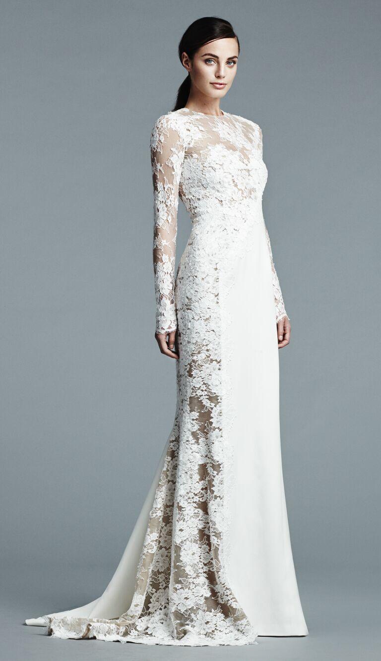 J Mendel long sleeve lace wedding dress wtih side illusion lace panel detail Spring 2017