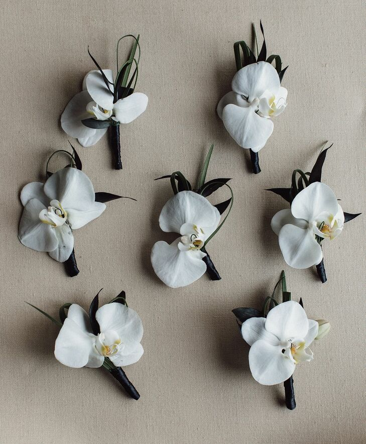 Orchid Boutonnieres for Wedding at Tehama Golf Club in Carmel-By-The-Sea, California