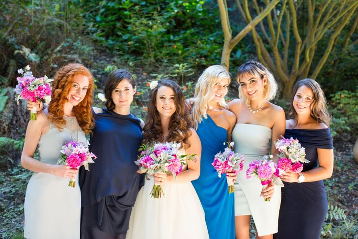 """I let the bridesmaids choose their own dresses after giving them a color scheme,"" Kalya says. Each bridesmaid opted for a different hue of blue."