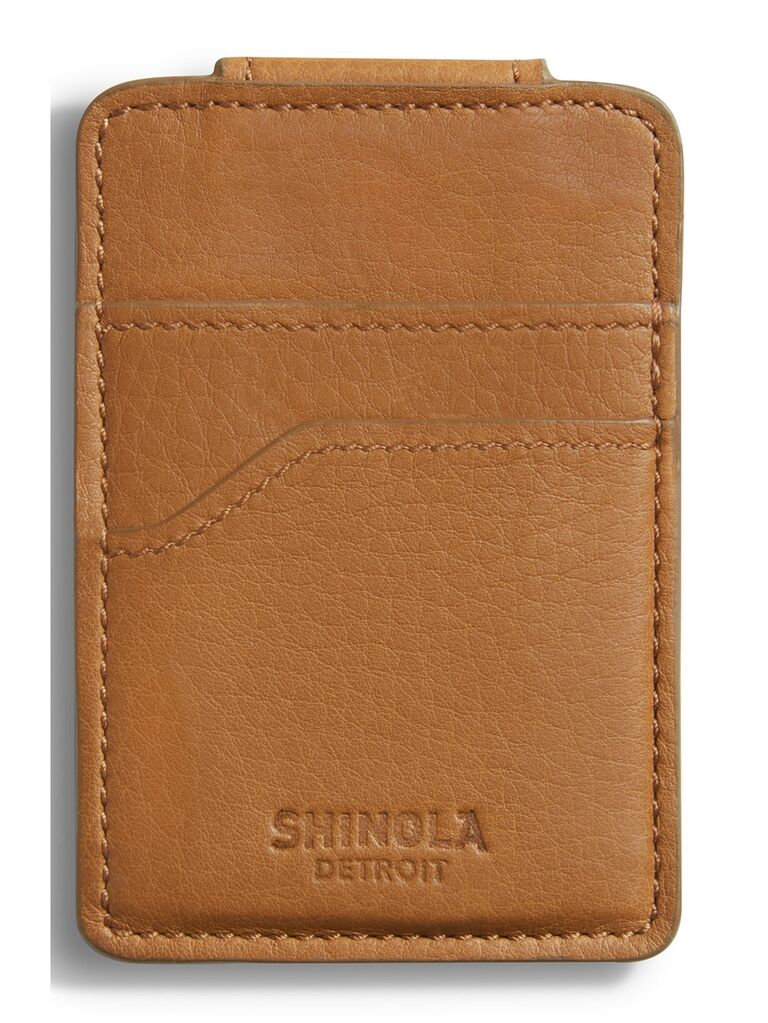 Leather money clip card case gift for father-in-law