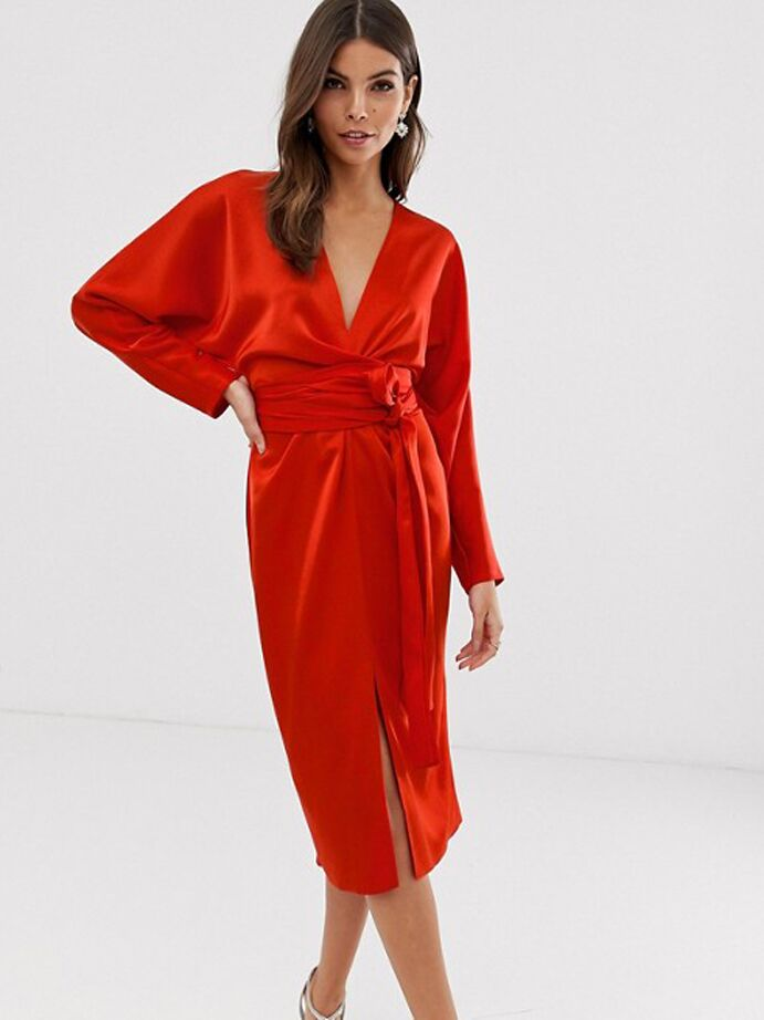Red satin midi dress with cinched waist and long sleeves