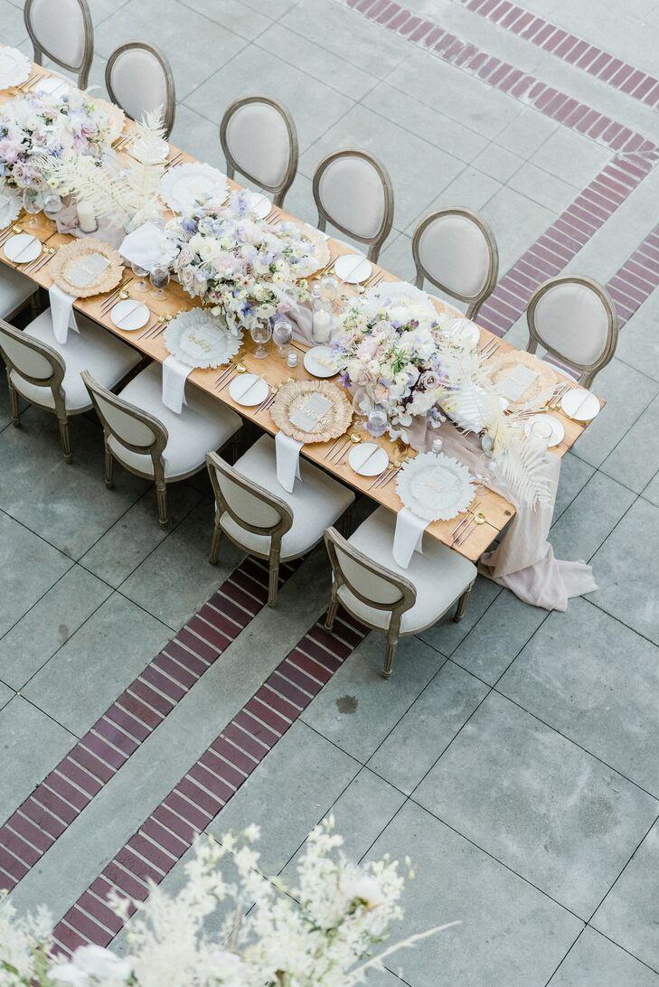 Romantic Wedding Reception Table at Montalvo Arts Center in Saratoga, California