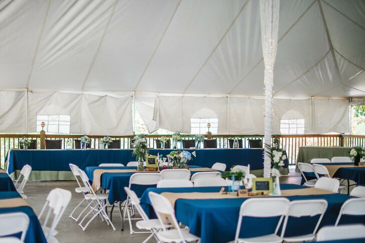 Simple Navy and Burlap Tented Reception in Columbia