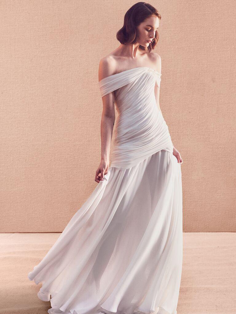 Oscar de la Renta Spring 2020 Bridal Collection off-the-shoulder drop-waist wedding dress
