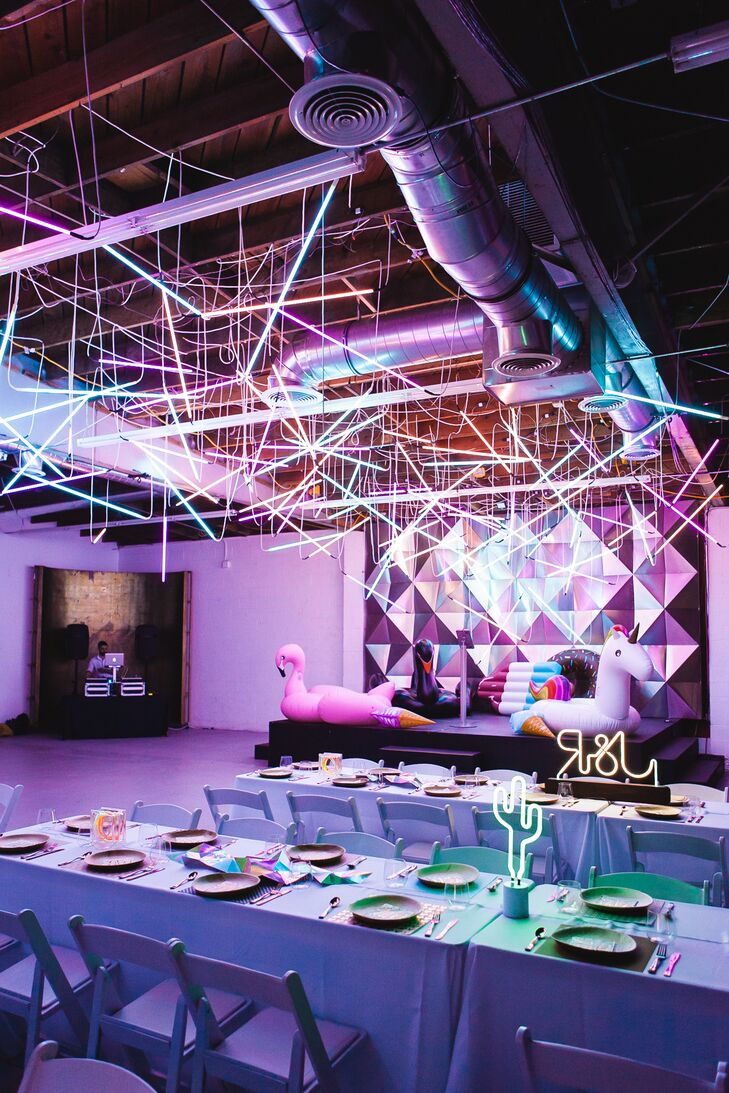 Whimsical, Modern Reception Space with Neon Lighting
