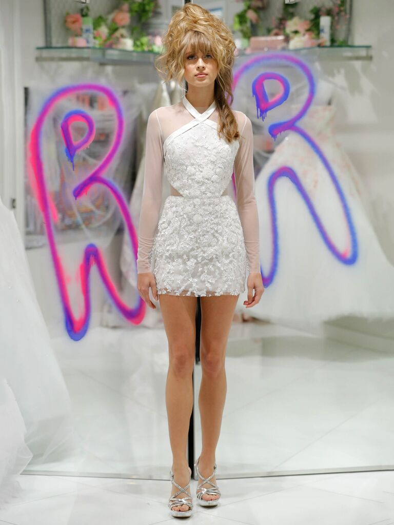 Randi Rahm Fall 2019 Bridal Fashion Week Collection mod-inspired mini dress with sheer sleeves