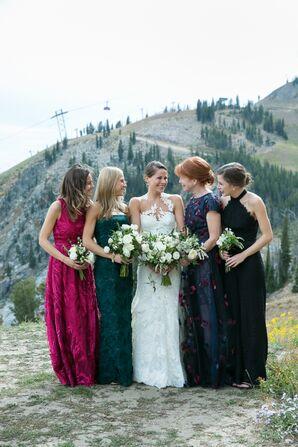 Mismatched Jewel Tone Bridesmaid Dresses