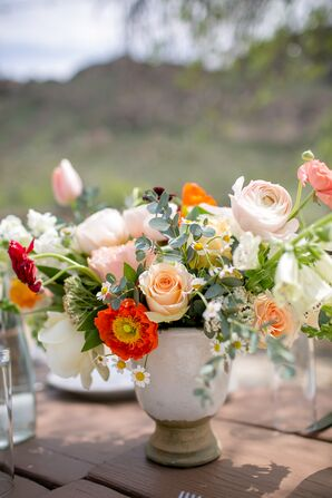 Red and Peach Poppy and Garden Rose Centerpieces