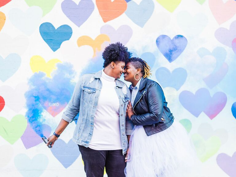 A Cheerful Engagement Shoot With a Colorful Smoke Bomb