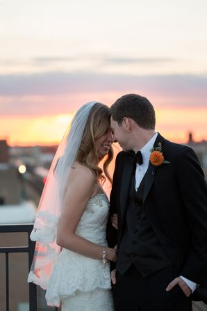 Groom and Bride in Lace Veil at Sunset in Chicago