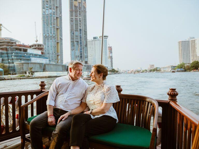 Boat ride anniversary photo