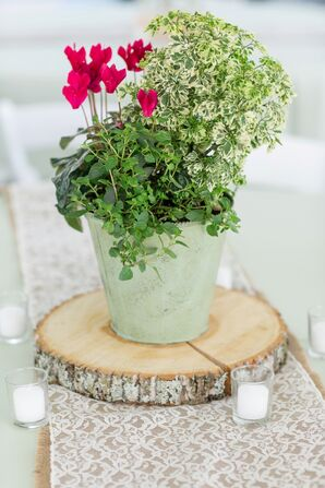Wood Slab Centerpieces with Pails of Greens