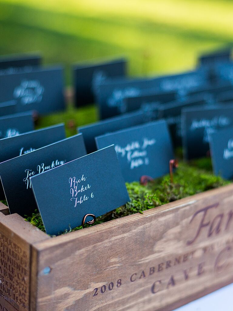 Table card display idea for a wedding reception