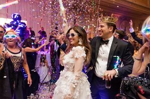 Bride and Groom on Dance Floor with Confetti