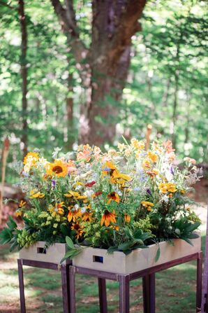 Colorful Wildflower Planter Box Arrangements