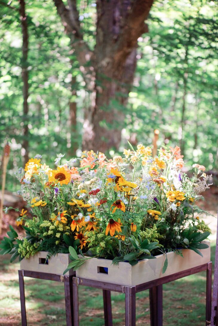 Colorful Wildflower Planter Box Arrangements