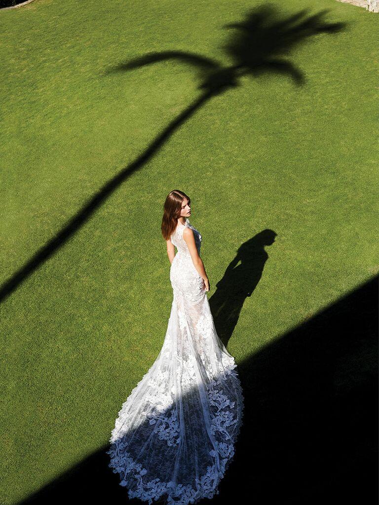 Pronovias wedding dress with a long lace train