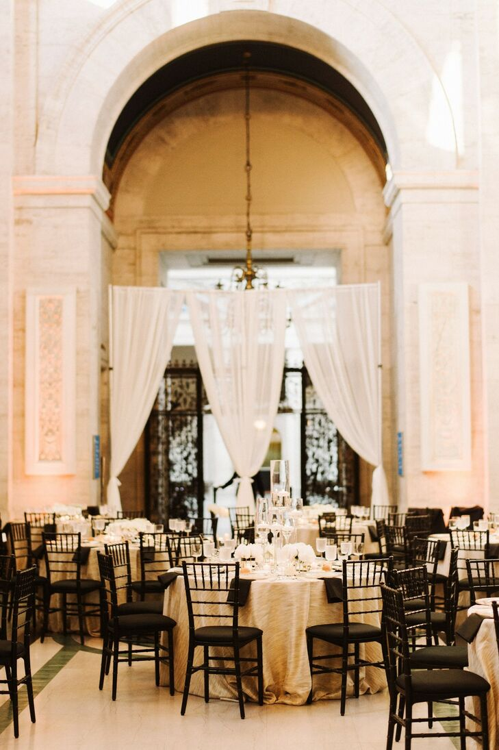 Elegant Reception with Gold Linens and Black Chiavari Chairs at The Detroit Institute of Arts in Michigan