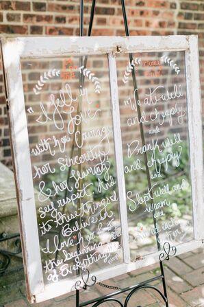 Romantic Author Quotes Written on Vintage Window