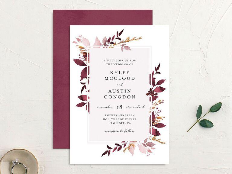 Autumn florals wedding invitation