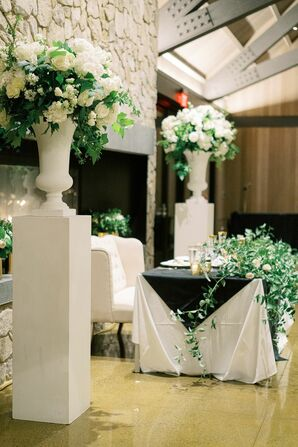 White-and-Green Floral Arrangements for Wedding in Yountville, California
