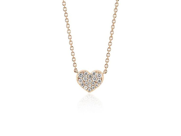 Heart-shaped pavé diamond pendant sixth anniversary gift idea