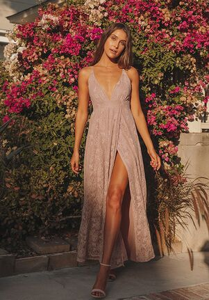 Lulus Stolen Moments Dusty Pink Lace-Up Lace Maxi Dress V-Neck Bridesmaid Dress