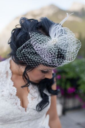 White Birdcage Hair Fascinator