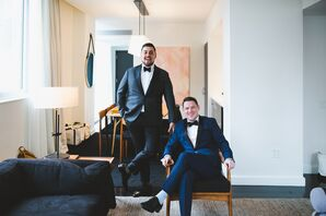 Modern Midnight Blue and Gray Tuxedos