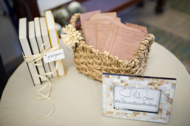 Playing off the wedding's art and literature theme, Rachel made library-inspired programs for the ceremony.