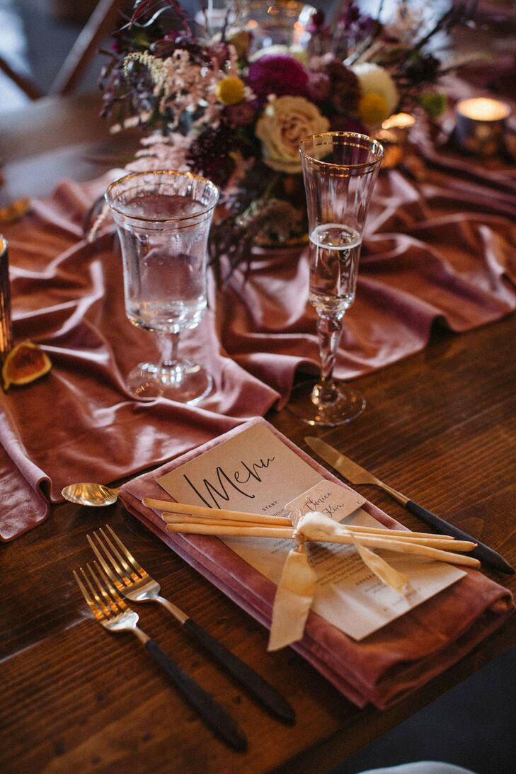 Romantic Place Setting with Menu, Gold Flatware and Pink Table Runner