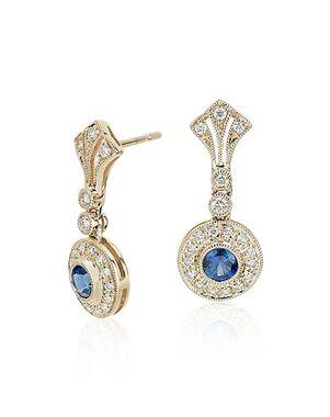 Blue Nile Sapphire and Diamond Vintage-Inspired Earrings Wedding Earring photo