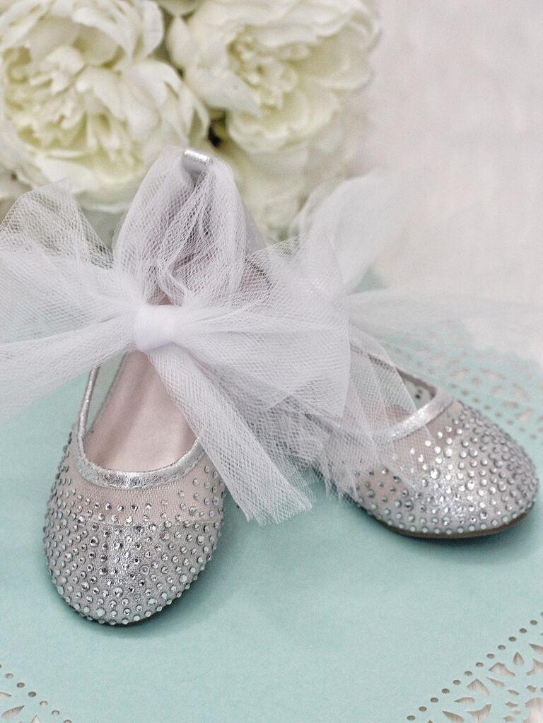 Rhinestone silver flower girl shoes