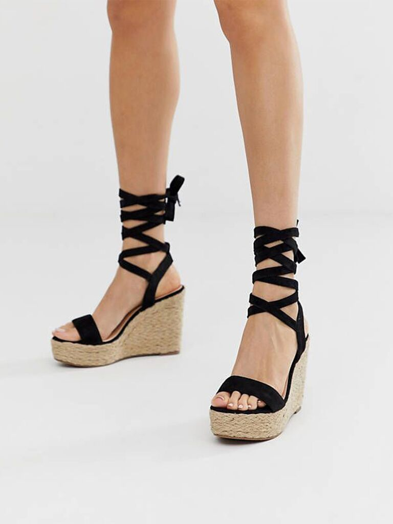 Glamorous espadrille wedge sandal with ankle tie in Black
