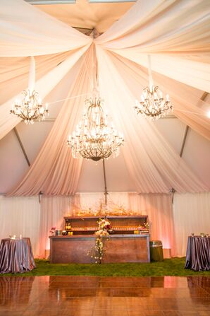Tented Reception, Crystal Chandeliers