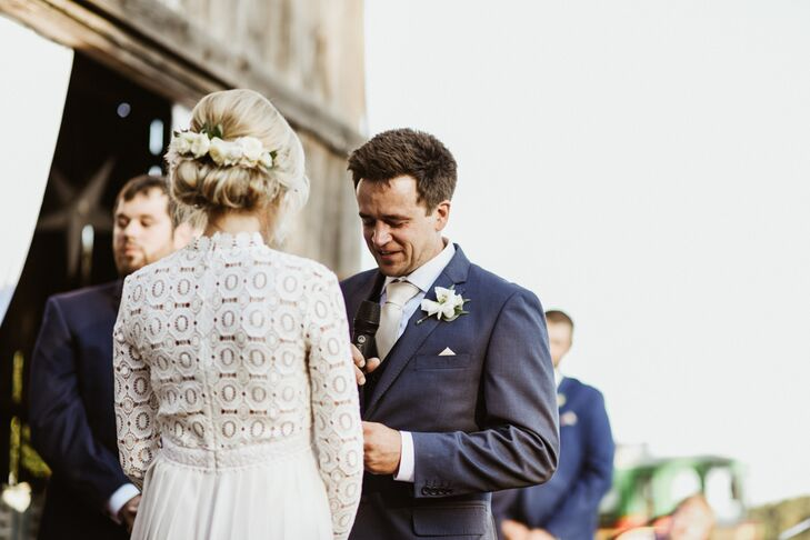 """A favorite detail was captured by the photographers. Austin teared up immediately after the ceremony began and cried the whole time. It was so unexpected. After that, multiple guests told us they couldn't hold it in either,"" Laura says."