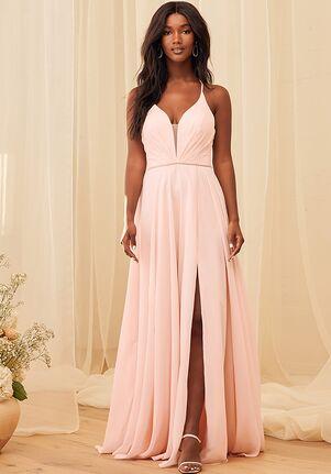 Lulus She's Gorgeous Blush Pink Lace-Up Rhinestone Maxi Dress Illusion Bridesmaid Dress