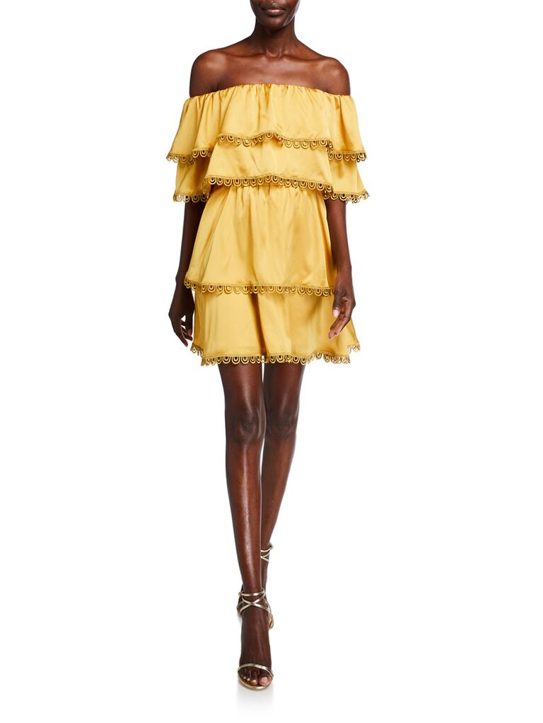 Yellow off-the-shoulder mini dress with tiered ruffles