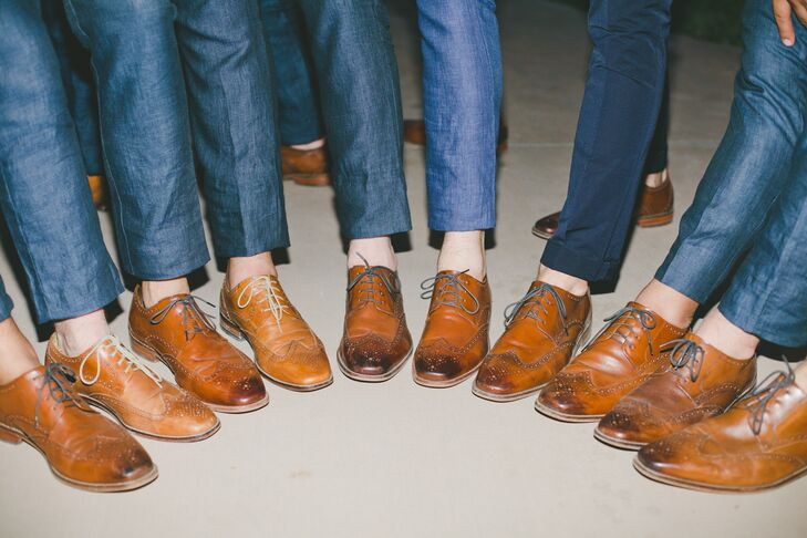 Grant and his groomsmen wore navy linen Zara suits, hemmed at the ankle to show off their brown shoes.