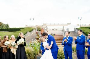 First Kiss During Outdoor Ceremony at Ault Park in Cincinnati, Ohio